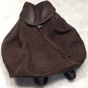 RARE Giorgio Armani brown pebbled leather backpack